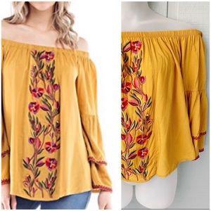• Boho Embroidered Floral Off Shoulder Top E4